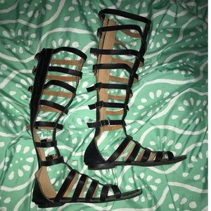 GoJane Shoes - Black Knee High Gladiator Sandals